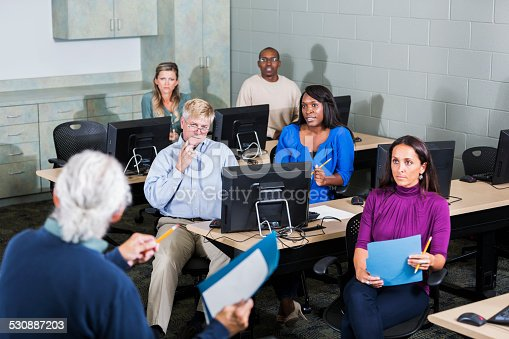 876965270 istock photo Multiracial adult students listening to instructor 530887203