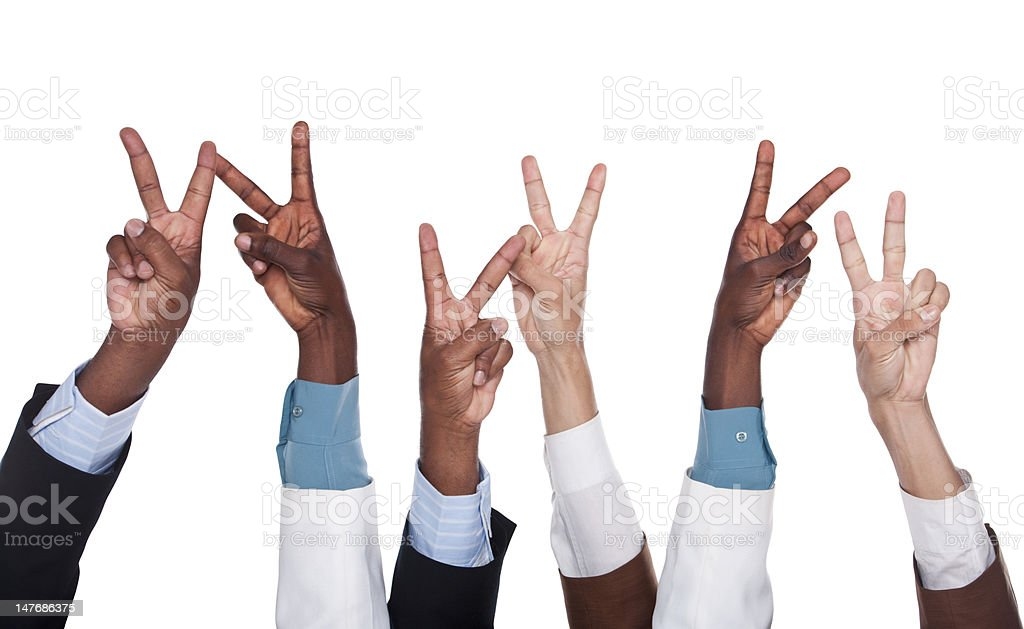 multiracial  business hands royalty-free stock photo