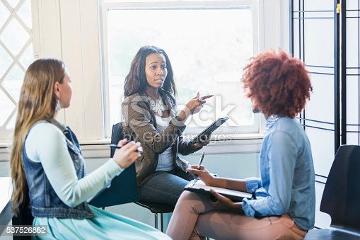 istock Multiracial business meeting, black woman in charge 537526862