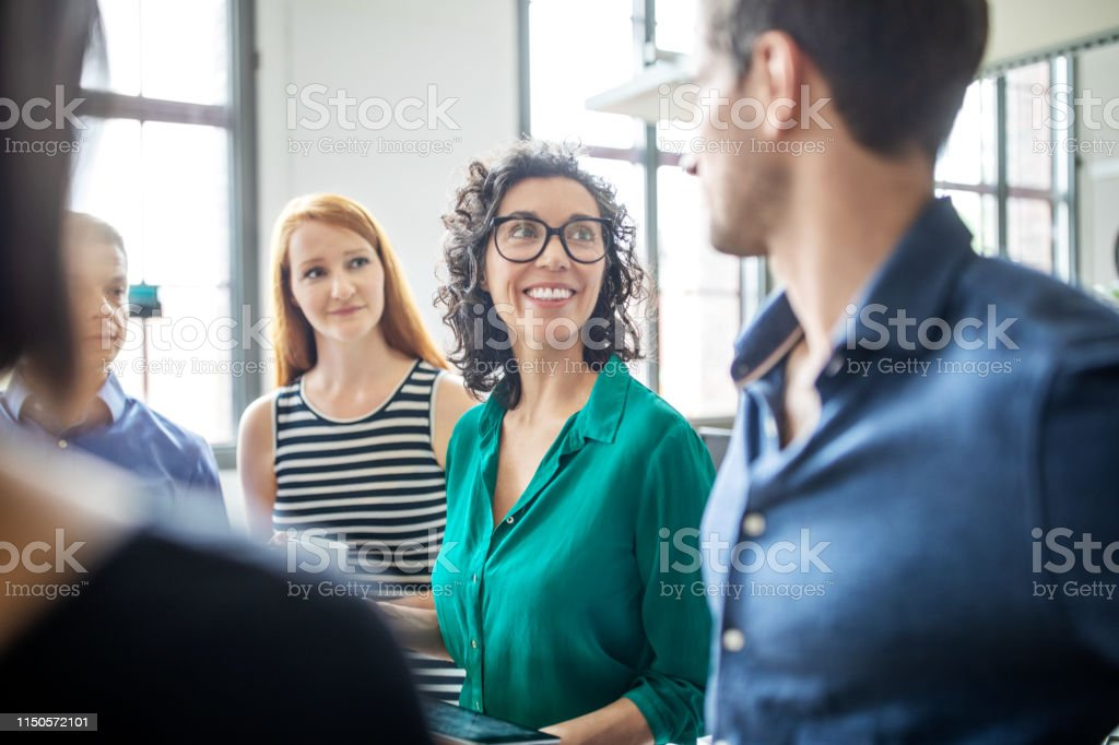 Multiracial business people having meeting in office - Royalty-free Adult Stock Photo