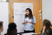 A college study group is led by a Middle Eastern female student. She's standing by a whiteboard and gesturing as she talks to a student across the table.