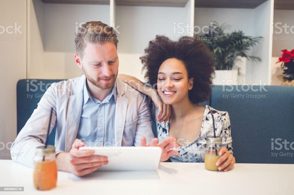 Multiracial couple dating foto de stock royalty-free