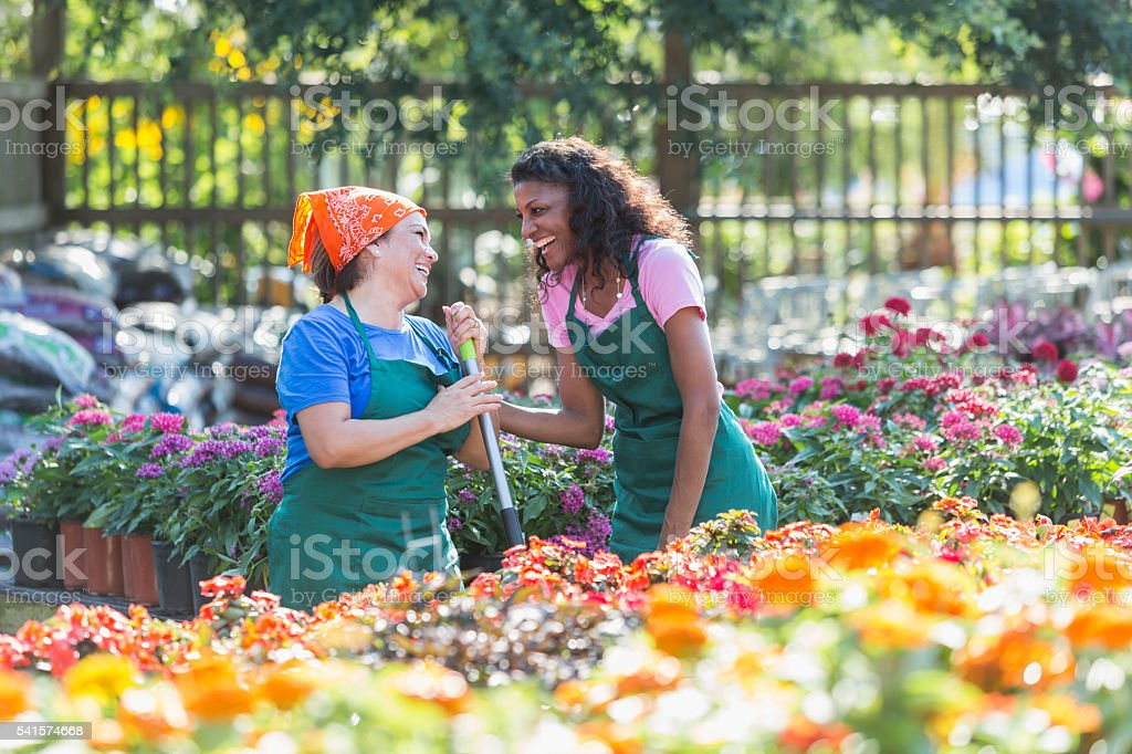 Multiracial females workers in garden center stock photo