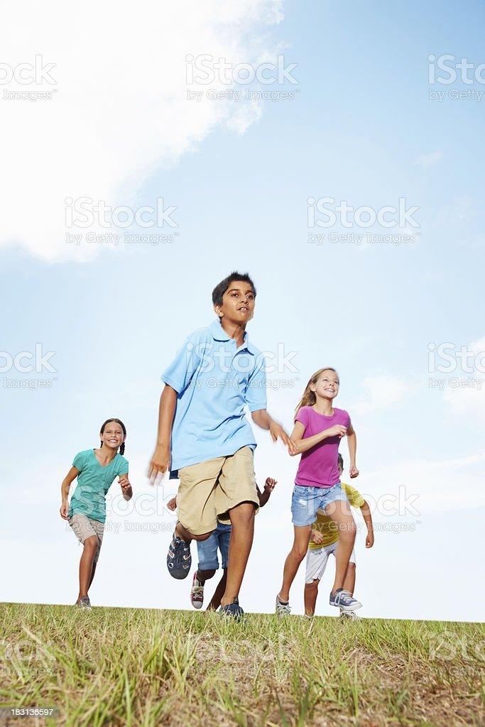 Multiracial friends playing together on grass against sky royalty-free stock photo