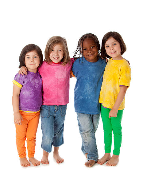 Multi-Racial Group of Diverse Children Standing Together Friends stock photo