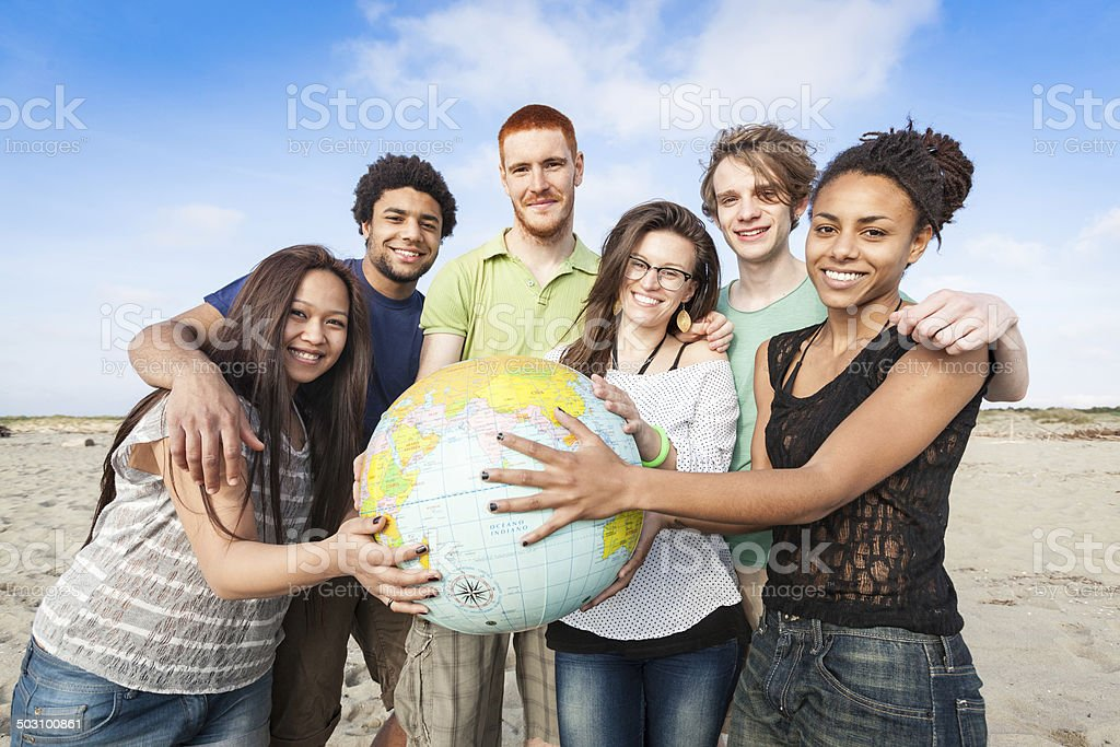 Multiracial Group of Friends with World Globe Map stock photo