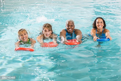 612839448istockphoto Multiracial group of woman in swimming pool 530740465