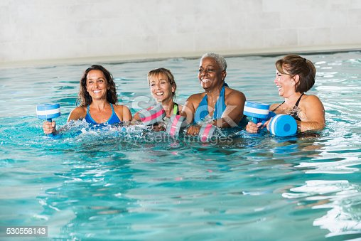 612839448istockphoto Multiracial group of women in water aerobics class 530556143