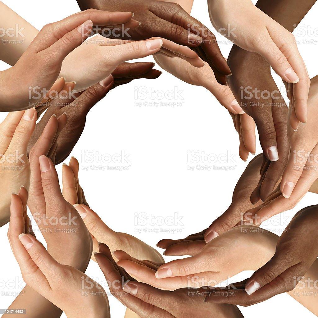 Multiracial Hands Making a Circle stock photo