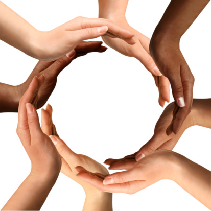 Multiracial Hands Making A Circle Stock Photo - Download Image Now