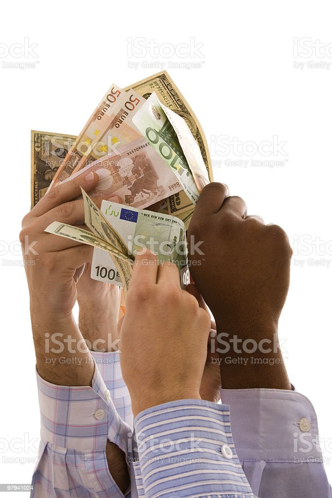 multiracial hands with money royalty-free stock photo