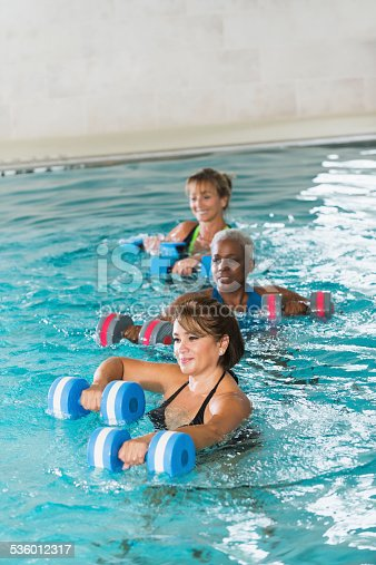 612839448istockphoto Multiracial mature women in water aerobics class 536012317