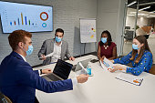 Multiracial group of business people wearing protective face mask on board meeting, while trying to find a solution for a business improvement during COVID-19 pandemic