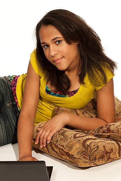 Multi-racial teenage girl stock photo