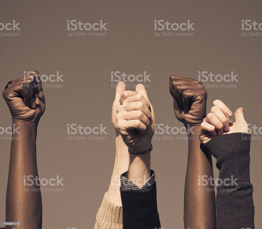 multiracial thumb up on the sky royalty-free stock photo