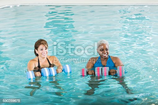 612839448istockphoto Multiracial women in water aerobics exercise class 530259675