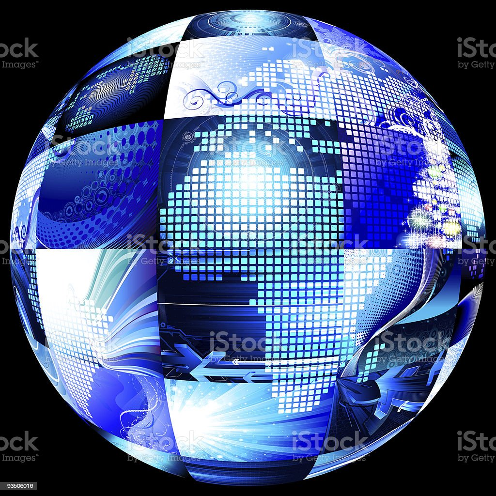 multiscreen sphere on black background royalty-free stock photo