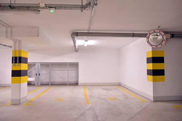 Multi-station underground garage for vehicles stock photo