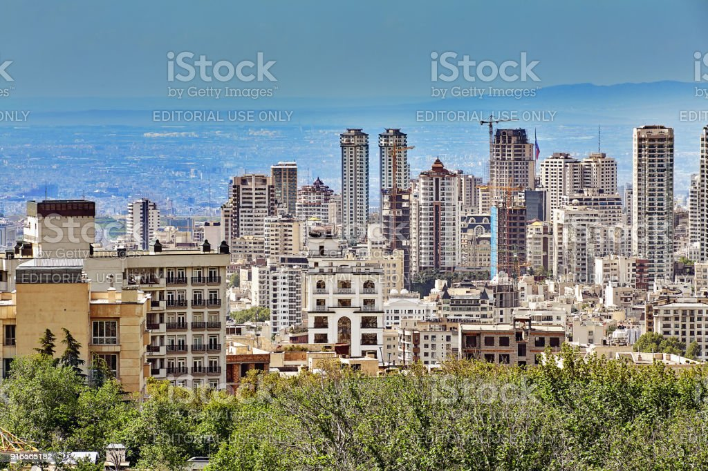 Multi-storey apartment buildings in a new area of Tehran, Iran. stock photo