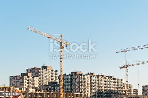 istock Multistorey multistorey buildings construction site with tower cranes 578093034