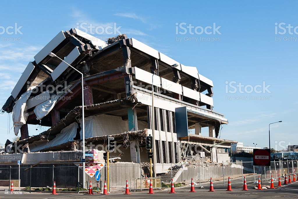 Multistory  building destroyed by an earthquake stock photo