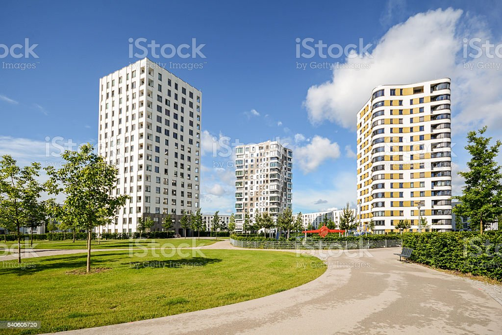 Multistory flats in the city, Facade of new residential houses stock photo