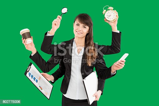 istock Multitask business woman with many hands. 802775006