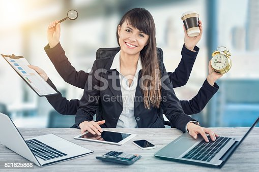 istock Multitask business woman with many hands. 821825866