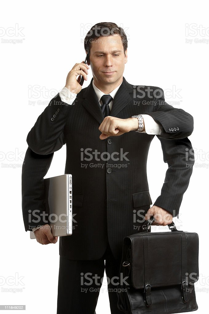 Multi-Tasker Businessman Redux four Arms Cellphone Laptop Briefcase on White royalty-free stock photo