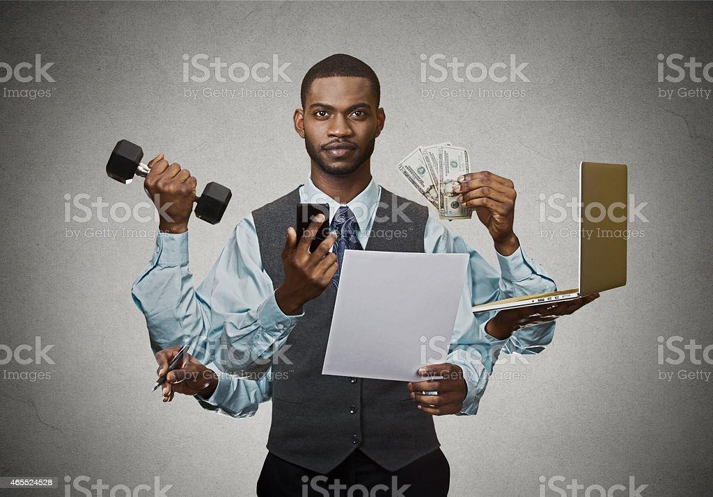 Multitasking business man busy executive stock photo
