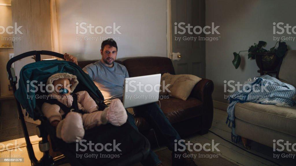 Multi-Tasking Father stock photo