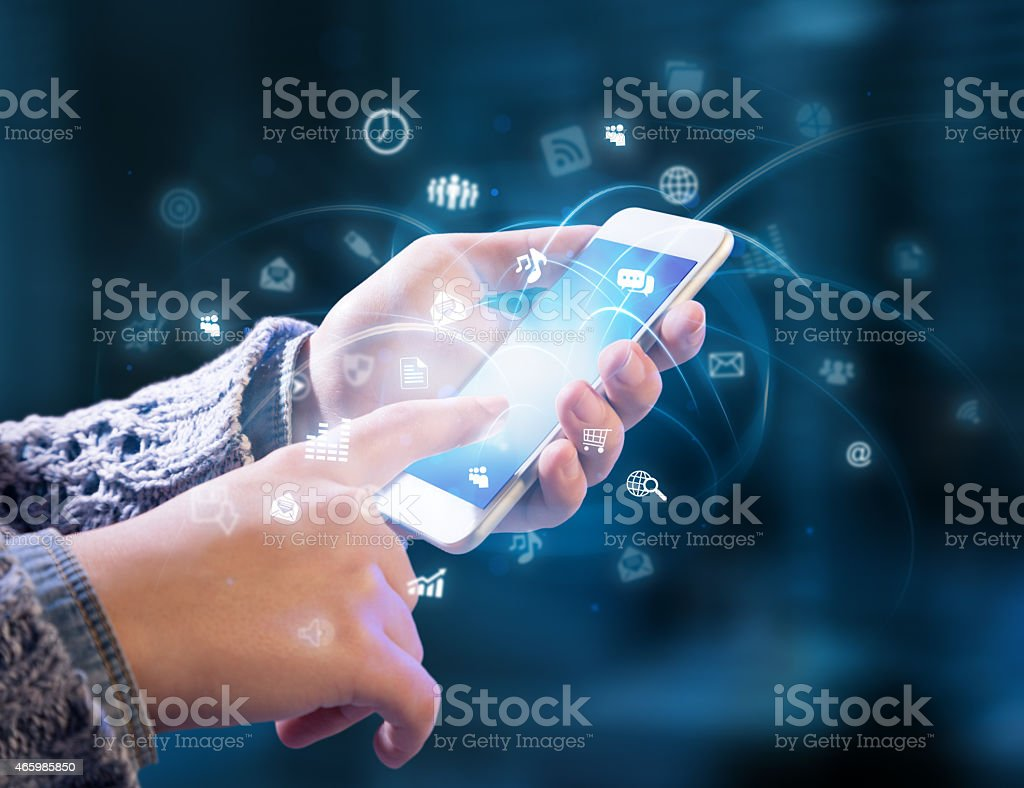 multitasking in hands stock photo