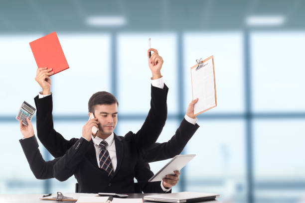 Multitasking man busy business manager task Multitasking man busy business manager task with white background. multi tasking stock pictures, royalty-free photos & images