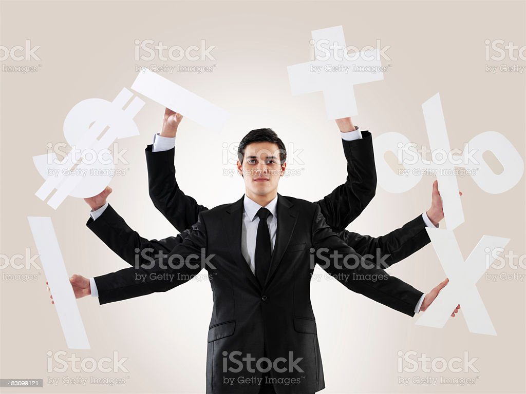 Multi-tasking man royalty-free stock photo