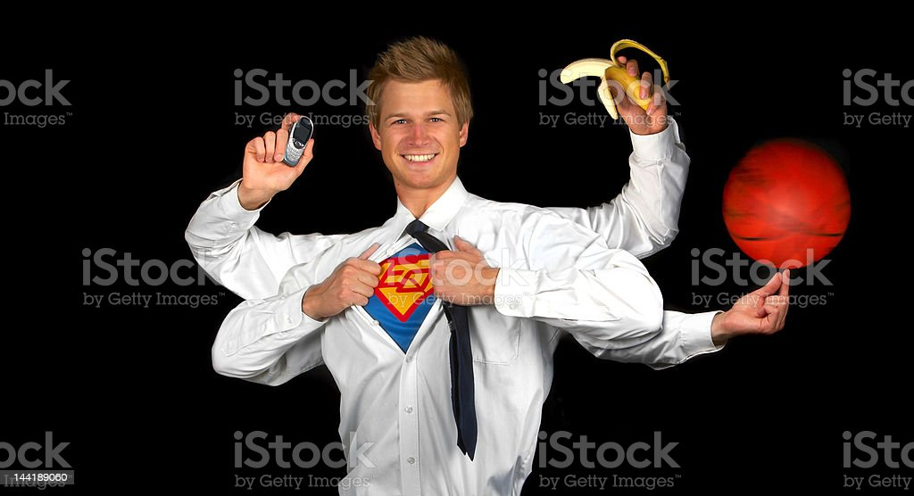 Multitasking man with multiple arms. royalty-free stock photo