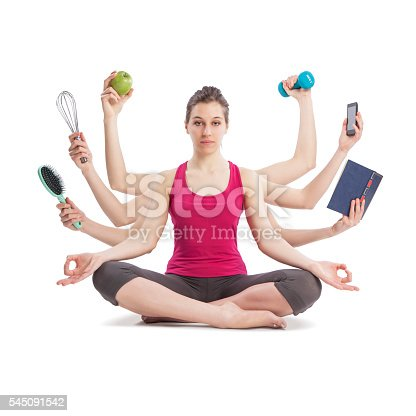istock multitasking woman portrait in yoga position with many arms 545091542