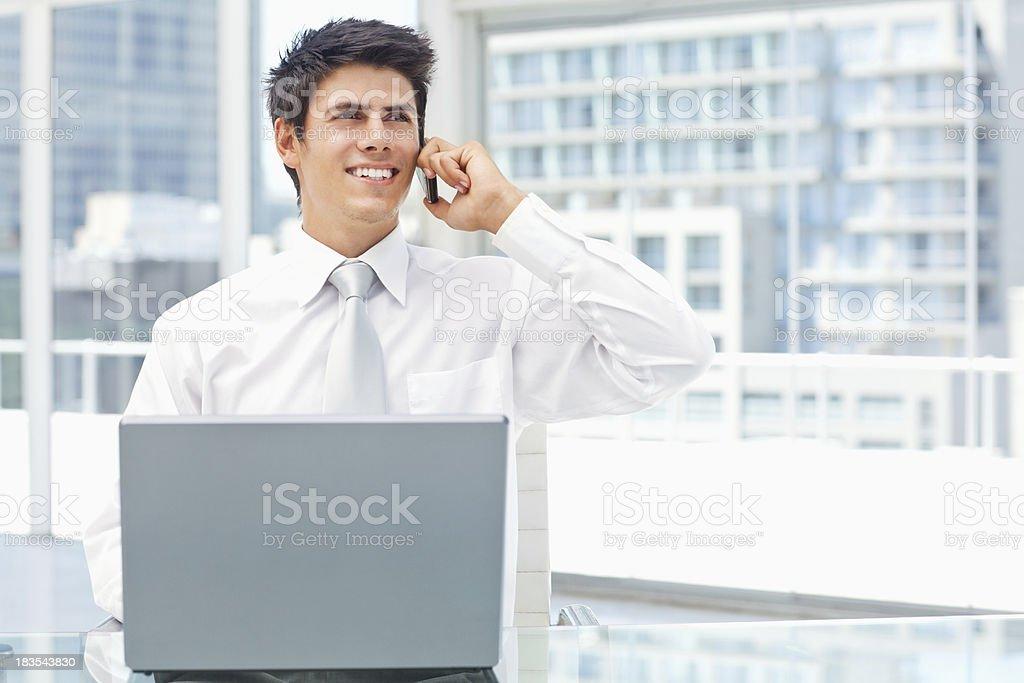 Multitasking Young Businessman royalty-free stock photo
