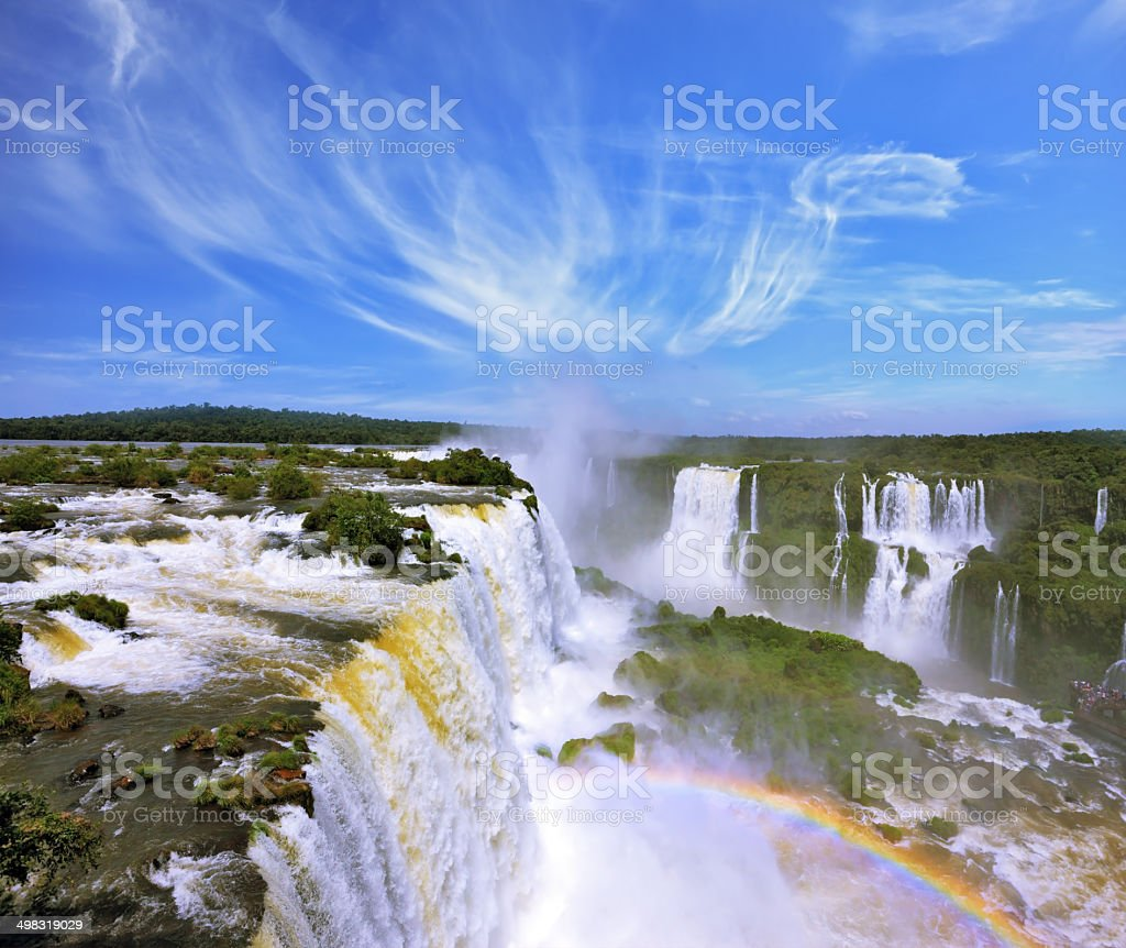 Multi-tiered cascades of water stock photo