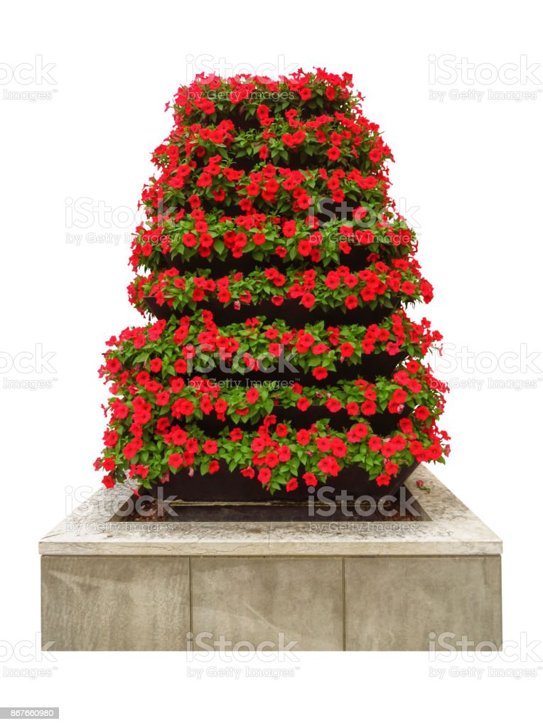 Multi-tiered flower pot stock photo