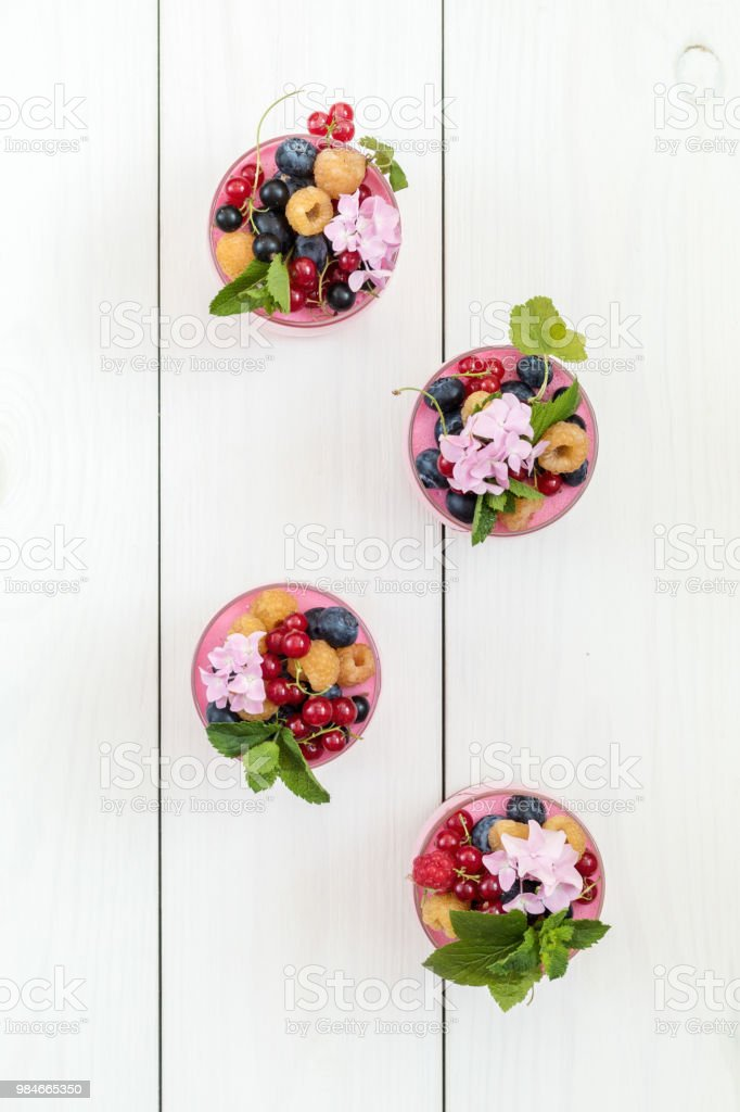 Multivitamin summer berry delicious panacotta. royalty-free stock photo