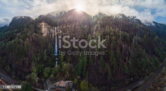 This is a very wide angle view of Multnomah Falls and the Multnomah Falls Lodge.