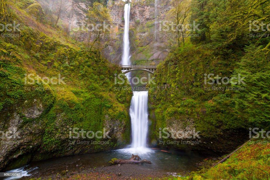 Multnomah Falls von Benson Brücke am Columbia River Gorge Oregon im Frühling – Foto