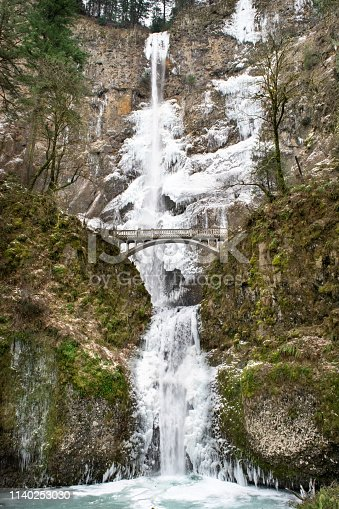 Oregon's Tallest Waterfall: Multnomah Falls - Columbia River Gorge, Oregon, USA (Winter)