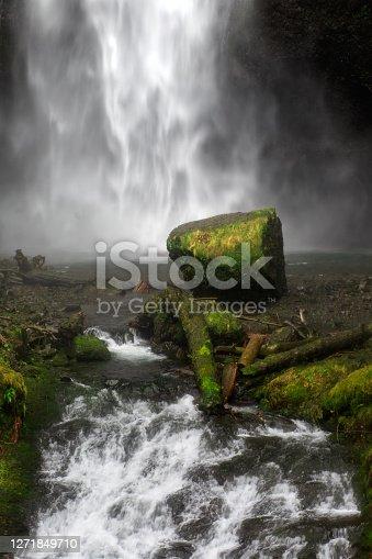 A close up view of Multnomah Falls in Oregon