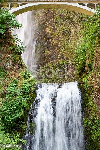 Multnomah Falls on the Oregon Columbia River Trail.