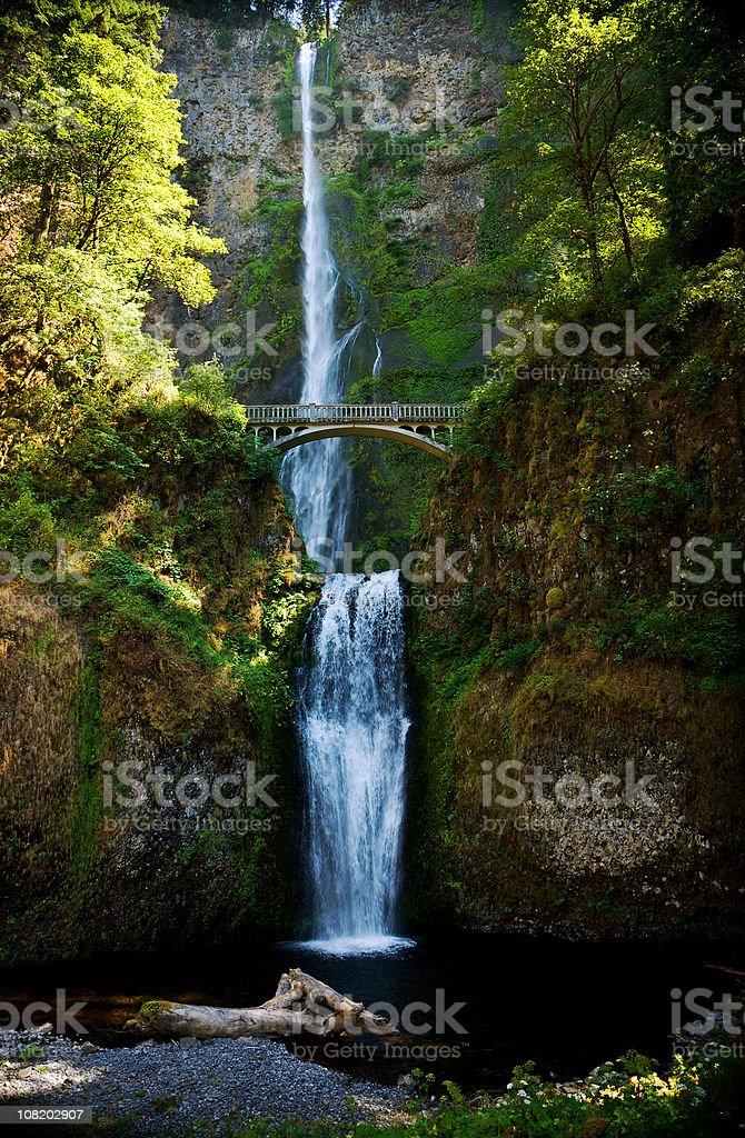 Multnomah Falls Under Columbia River Gorge royalty-free stock photo
