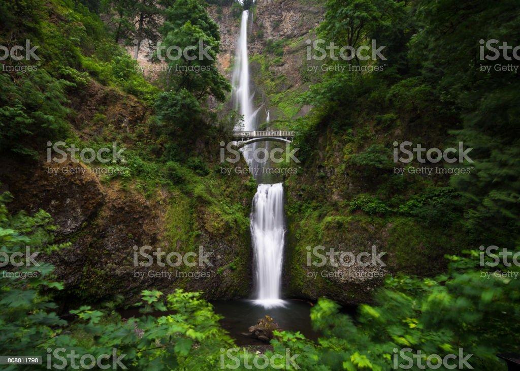 Multnomah waterfall near Portland, Oregon stock photo