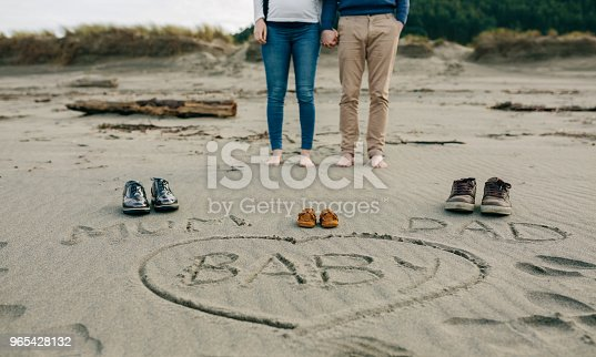istock Mum, dad and baby written on the sand with the parents behind 965428132