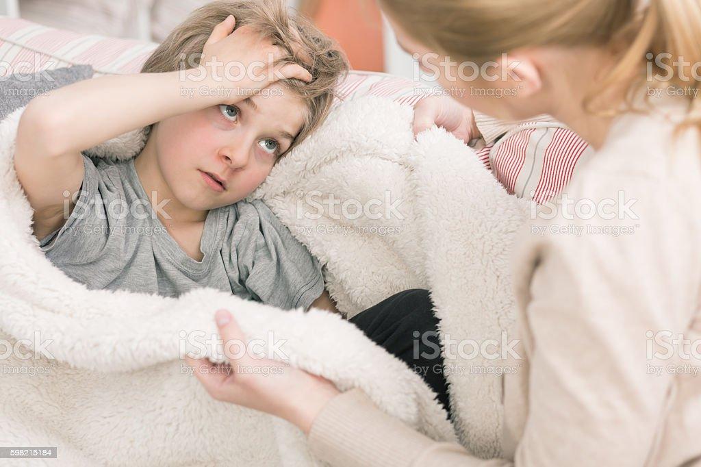 Mum, why do I feel so bad? stock photo
