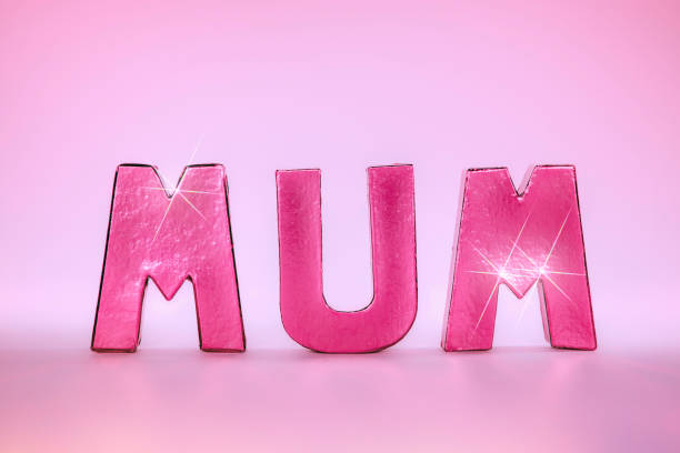 mum word in glamtastic pink rose gold letters - happy mothers day type stock photos and pictures